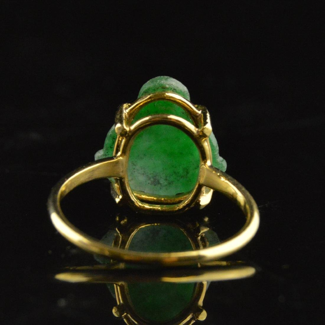 14K Gold Jadeite Ring - 4
