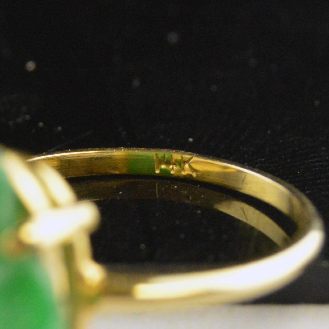 14K Gold Jadeite Ring - 5