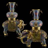 Pair Cloisonne Enamel Elephant with Vase