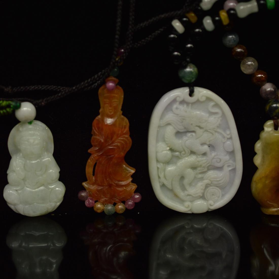five jadeite pendant - 3