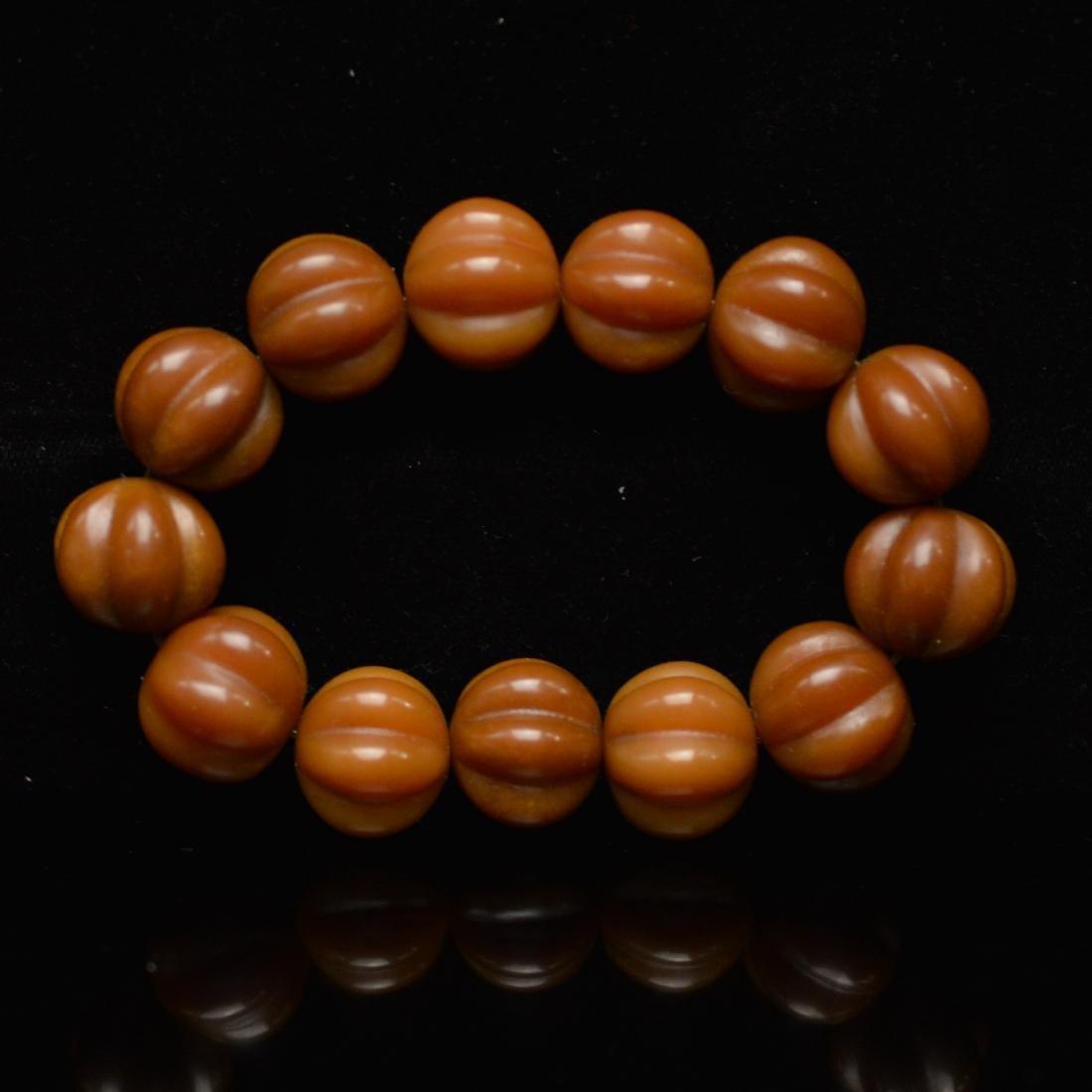 Olive pumpkin beads bracelet