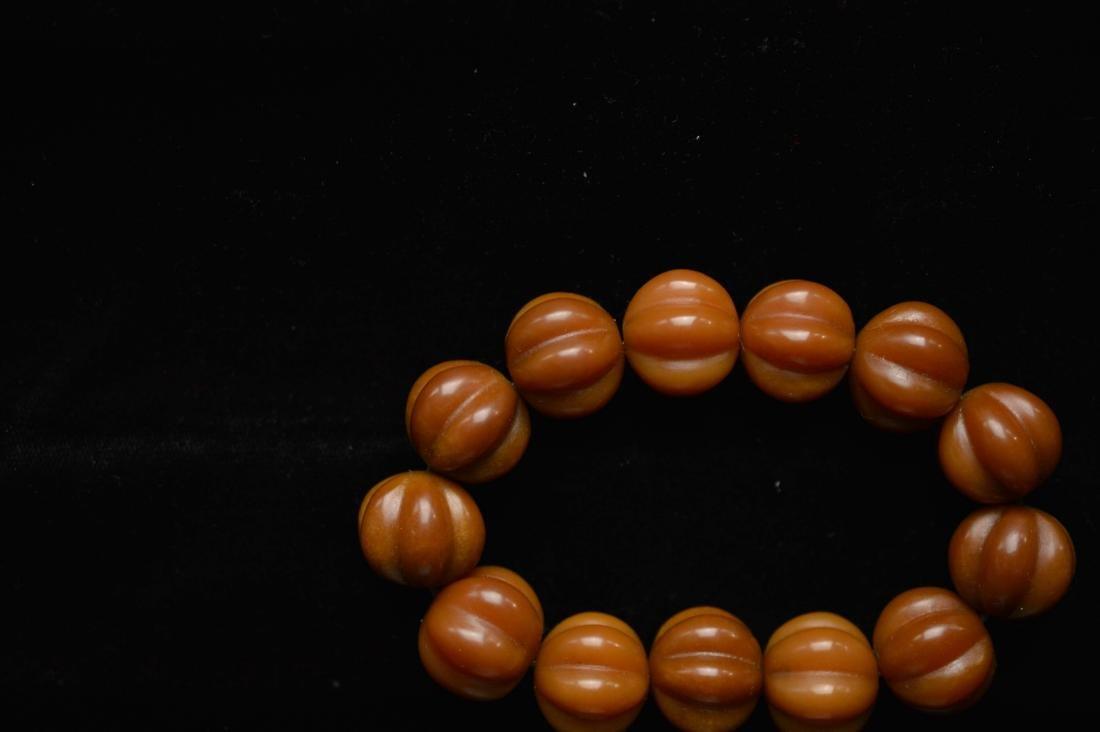 Olive pumpkin beads bracelet - 2