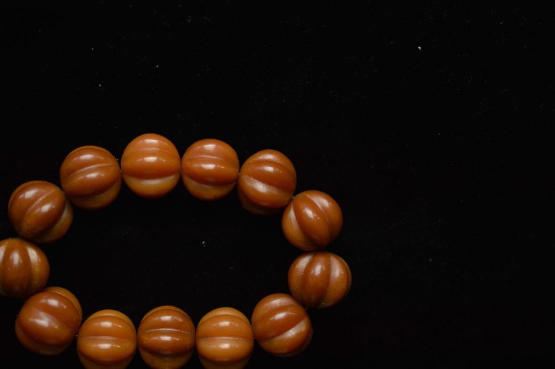 Olive pumpkin beads bracelet - 3