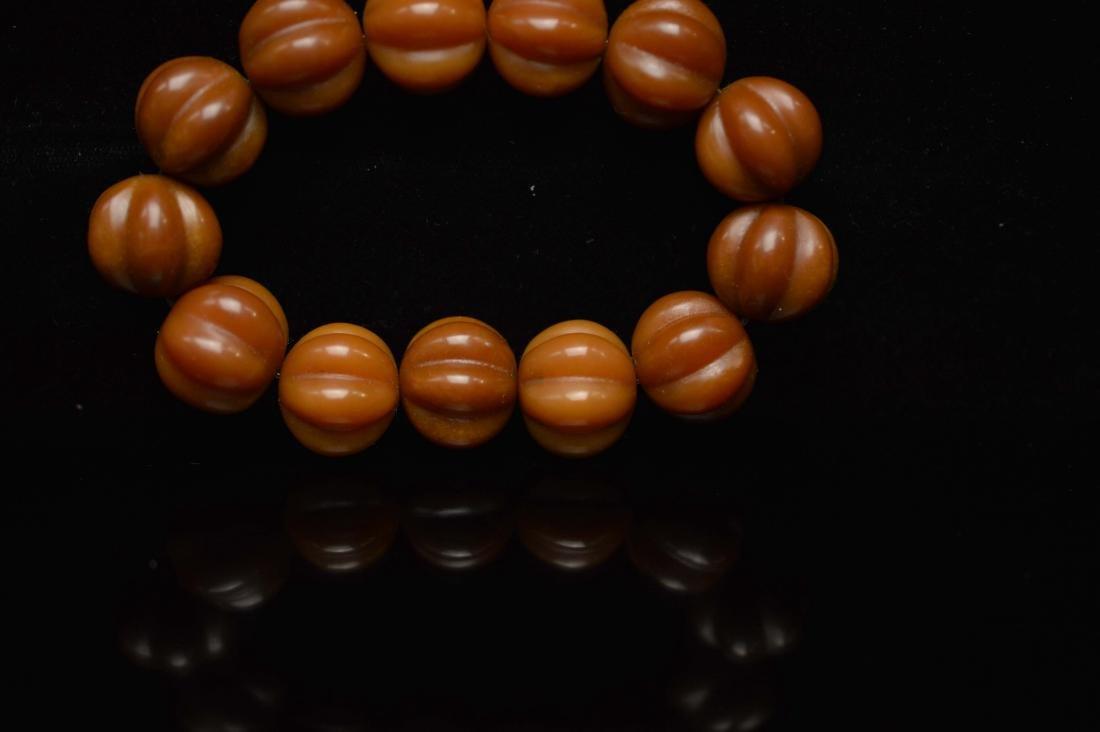 Olive pumpkin beads bracelet - 4