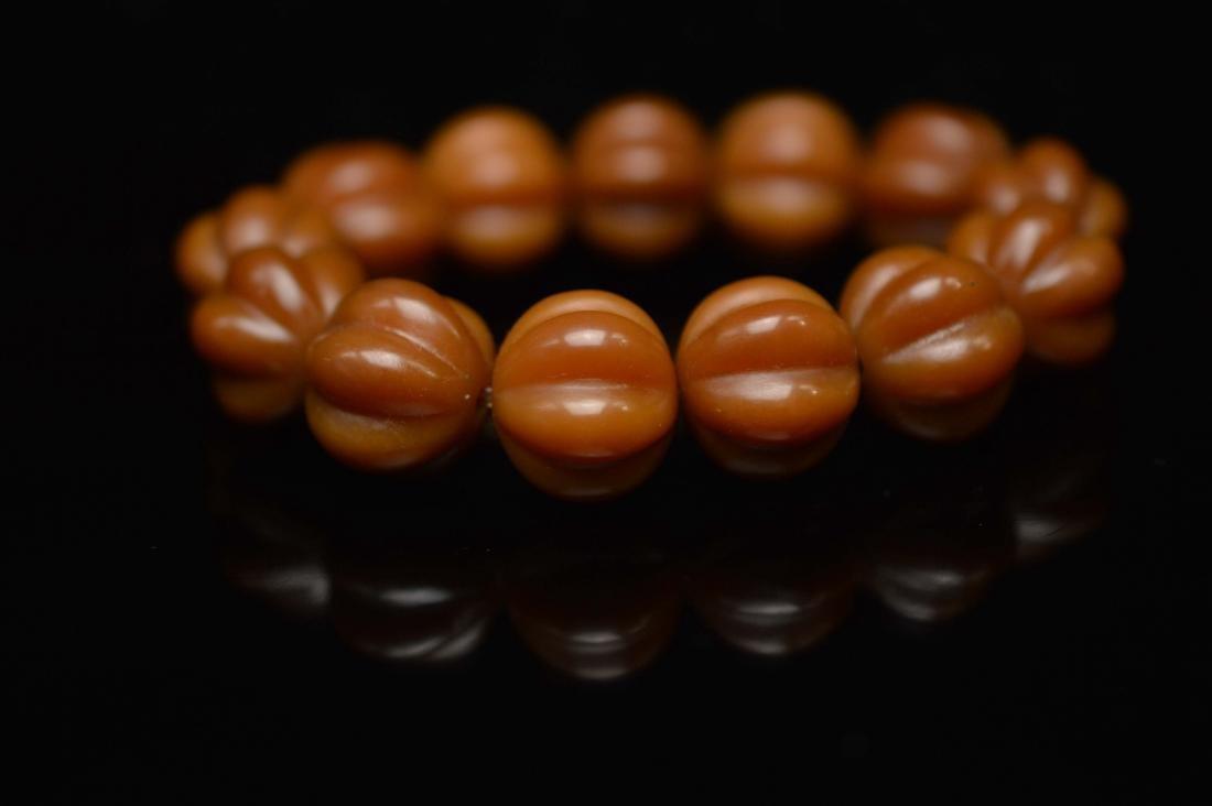 Olive pumpkin beads bracelet - 5