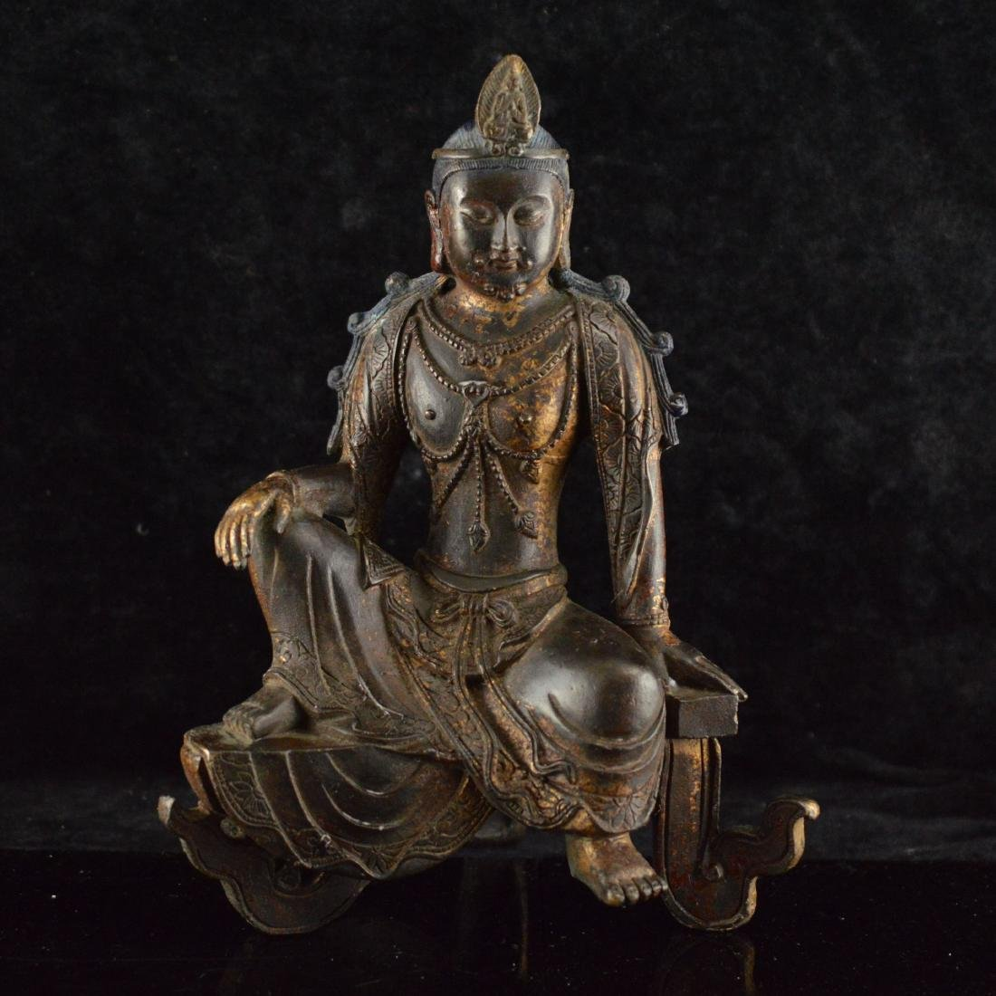 Gold Gilted bronze Guan Yin statue