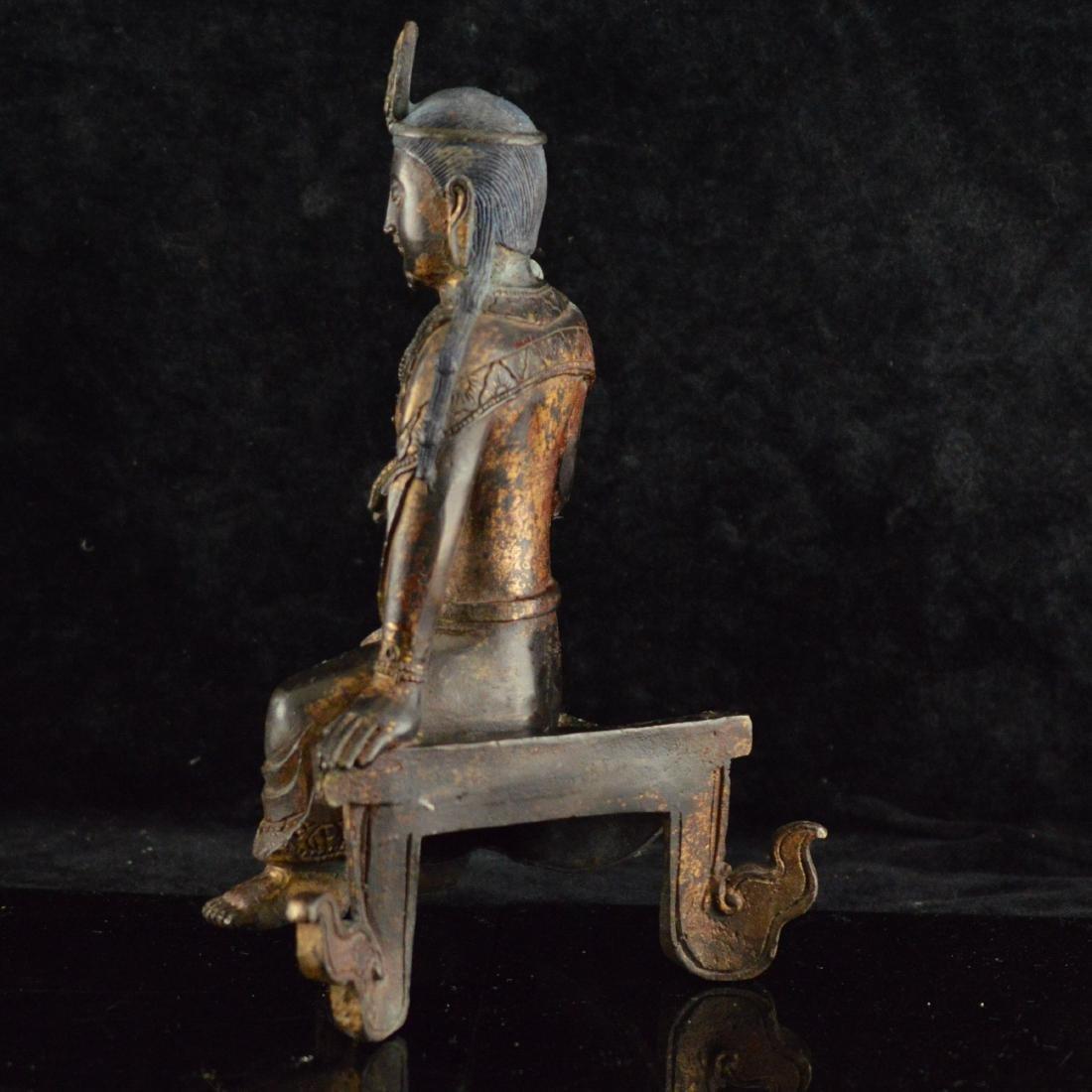 Gold Gilted bronze Guan Yin statue - 2