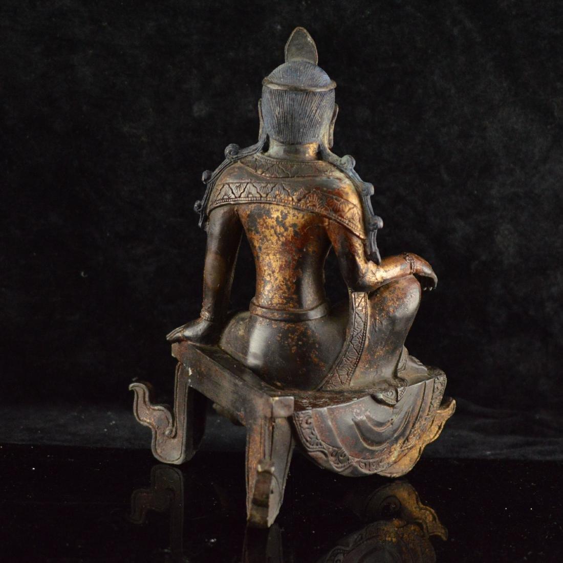 Gold Gilted bronze Guan Yin statue - 3