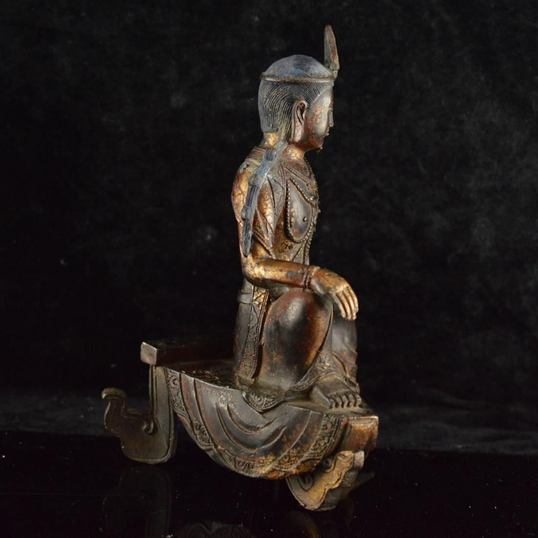 Gold Gilted bronze Guan Yin statue - 4
