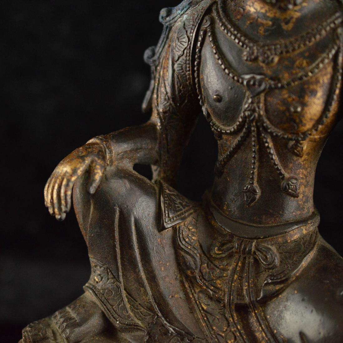 Gold Gilted bronze Guan Yin statue - 6
