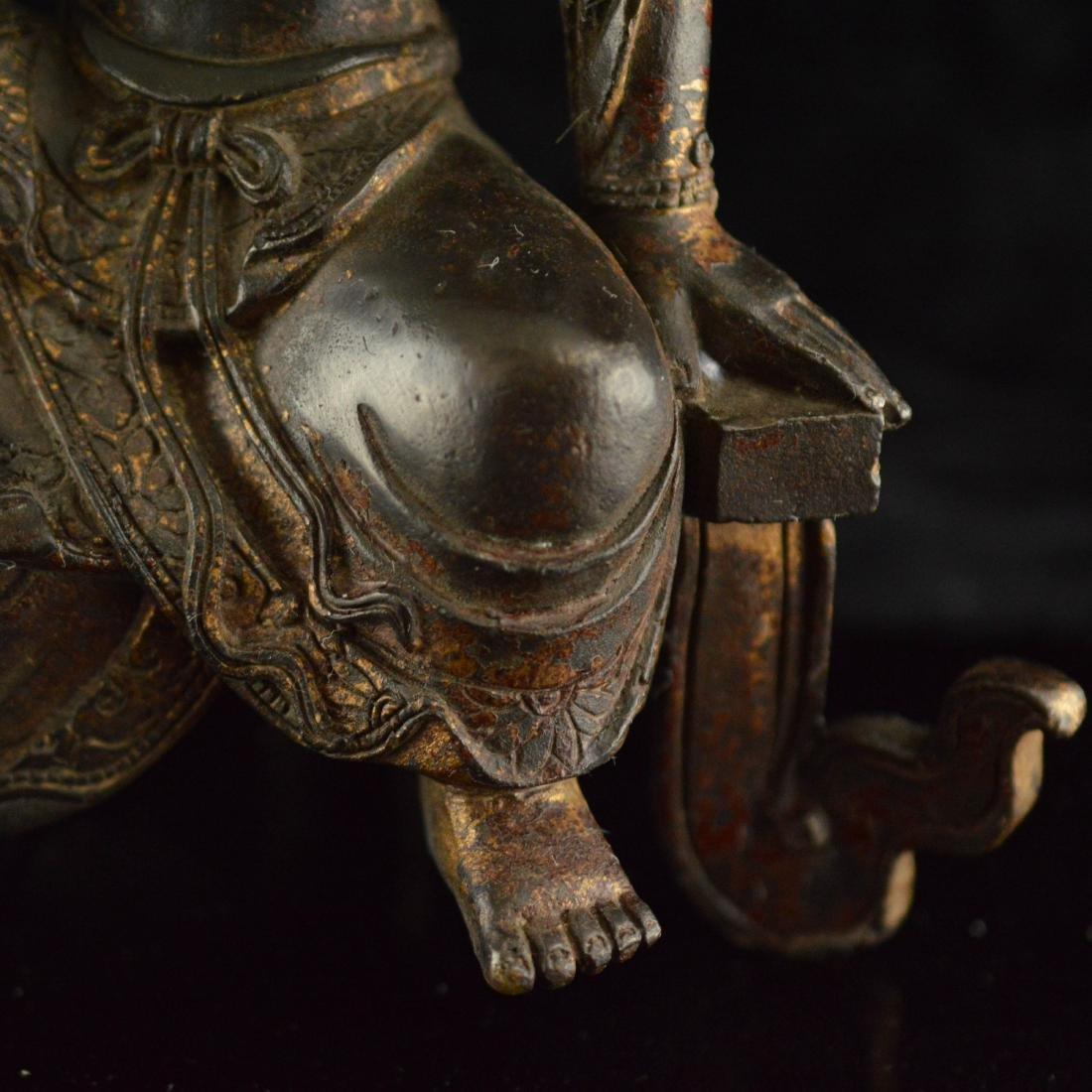 Gold Gilted bronze Guan Yin statue - 7