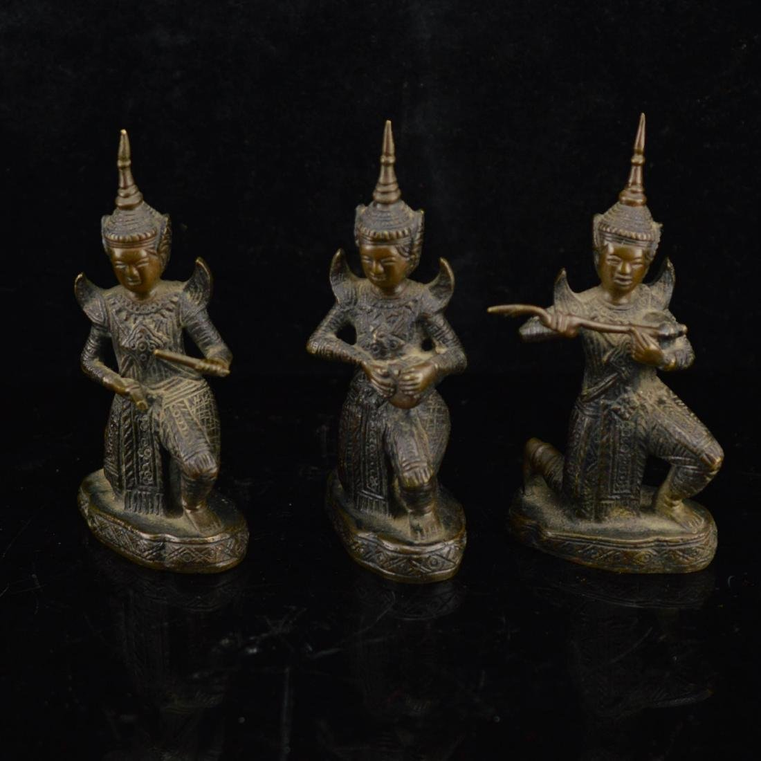 Three set Gilt copper statuettes