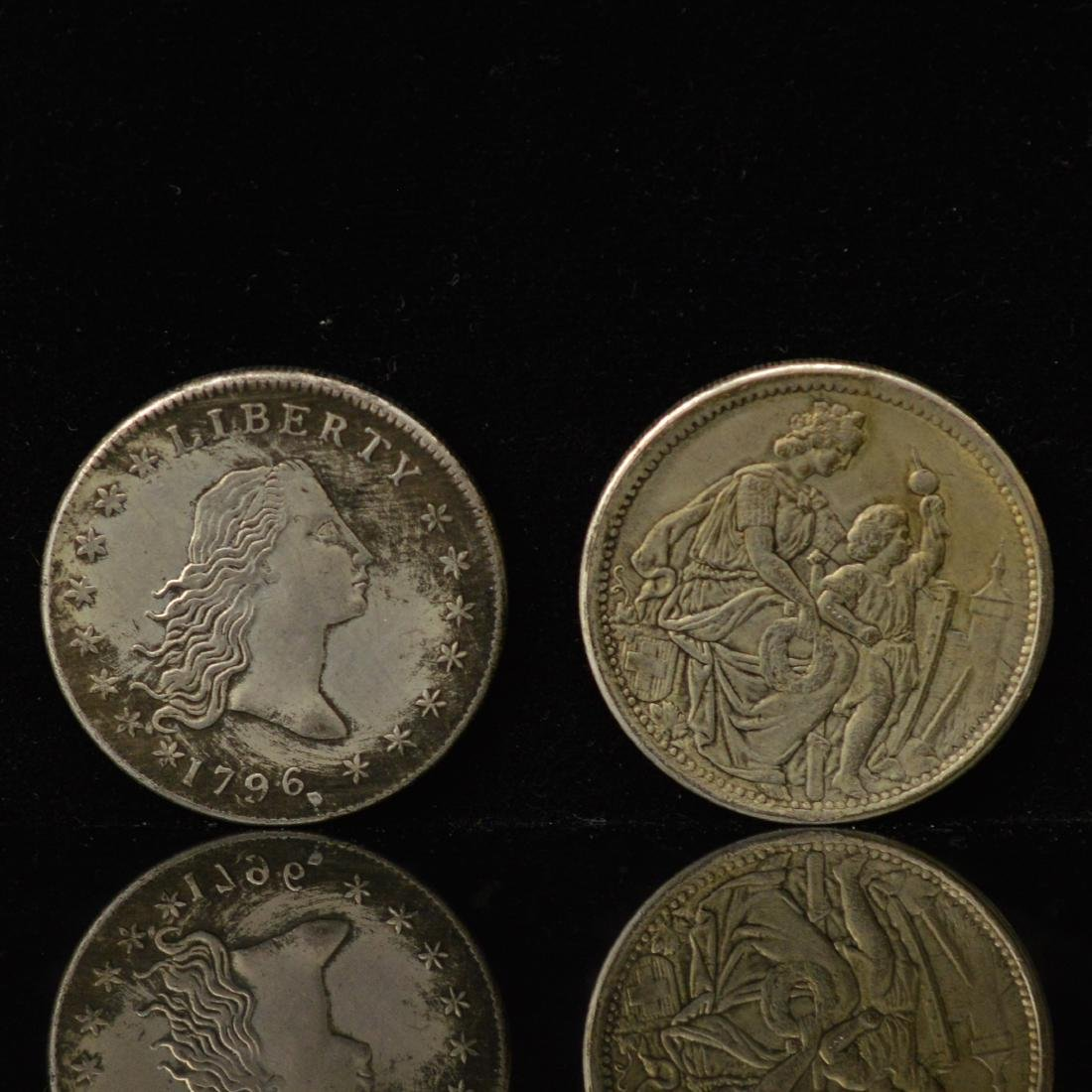 A1796 US libery Silver coins and A 1865 5 Francs coin