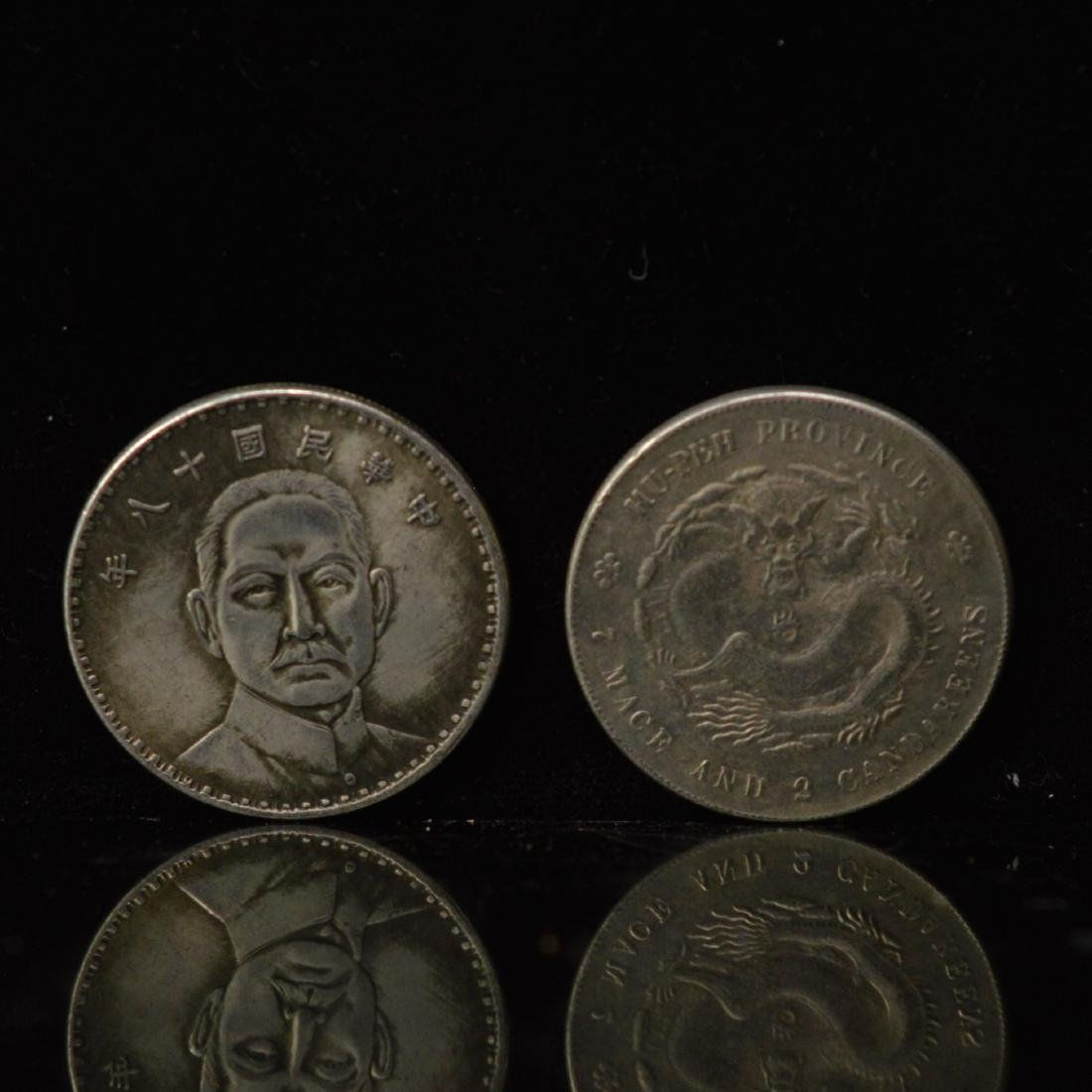 Two ROC 18years dollar Silver coins