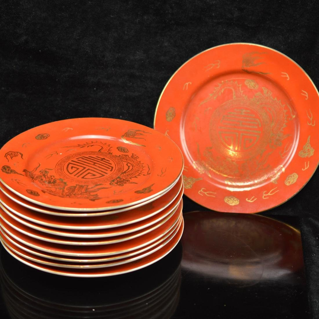 A set of 10 red glazed gold chinese plate
