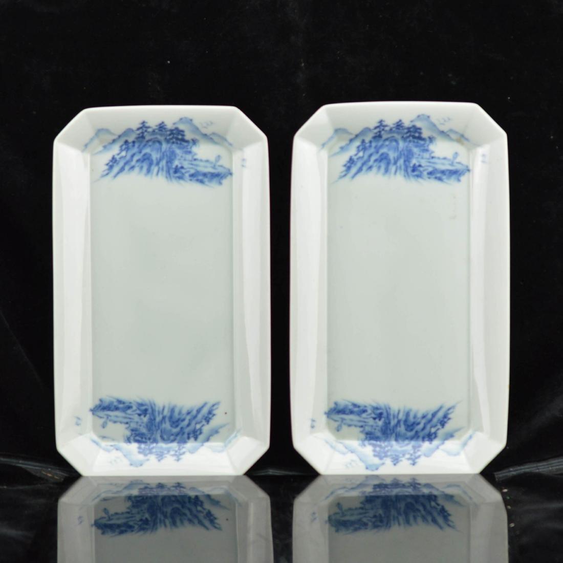 Pair of Japanese style octagonal ceramic plates