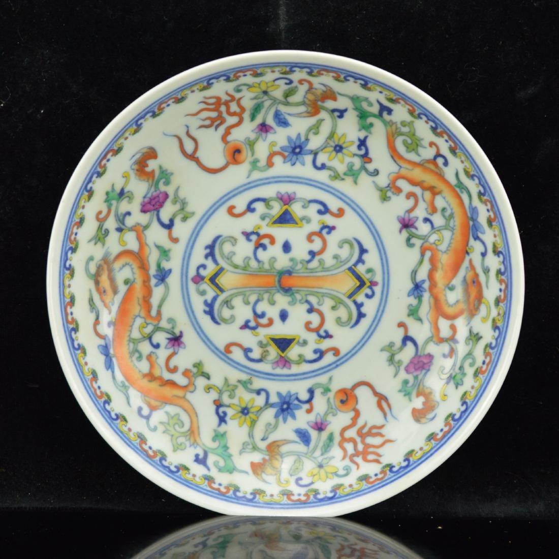 Doucai phoenix and dragon porcelain plate