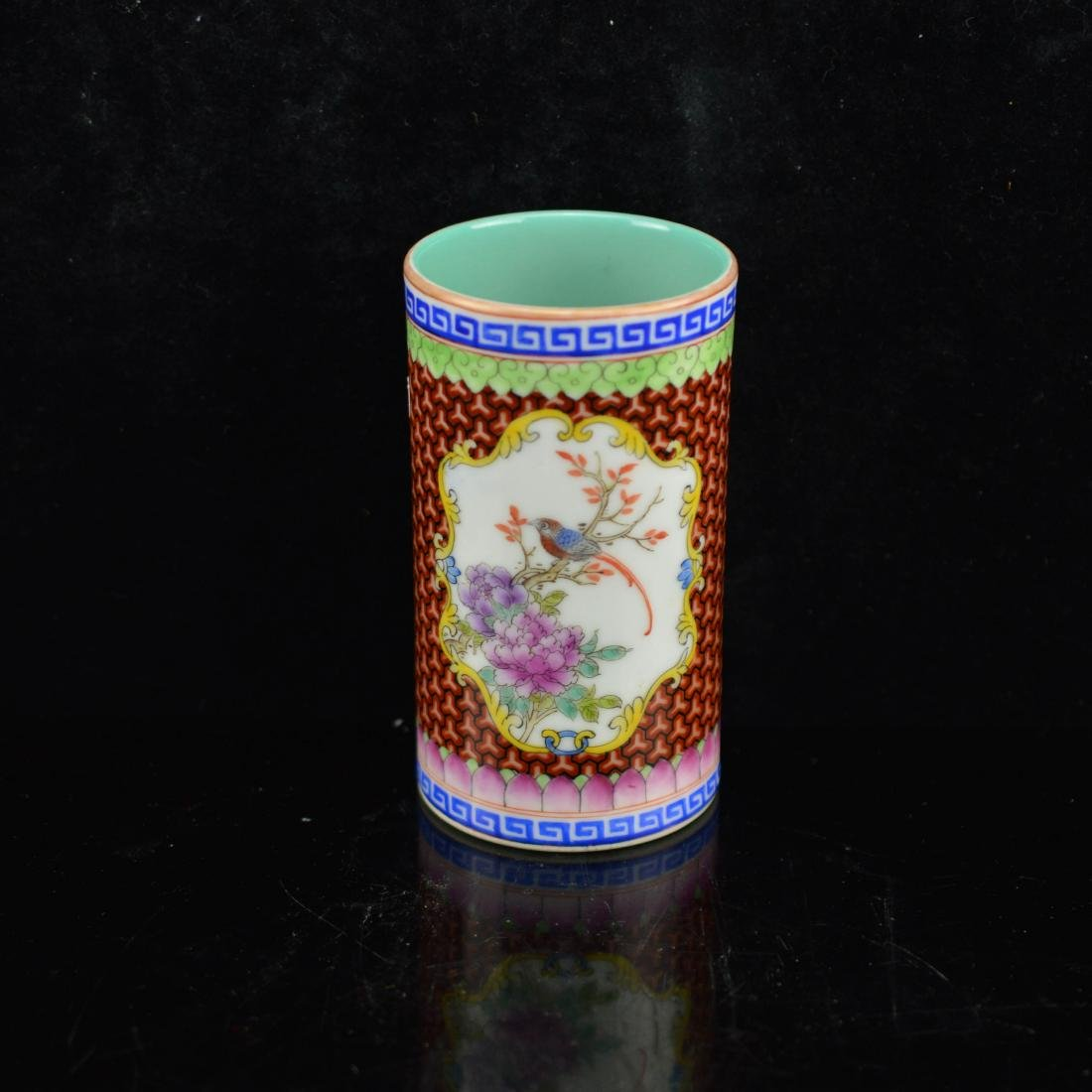 Famille rose enameled porcelain cup