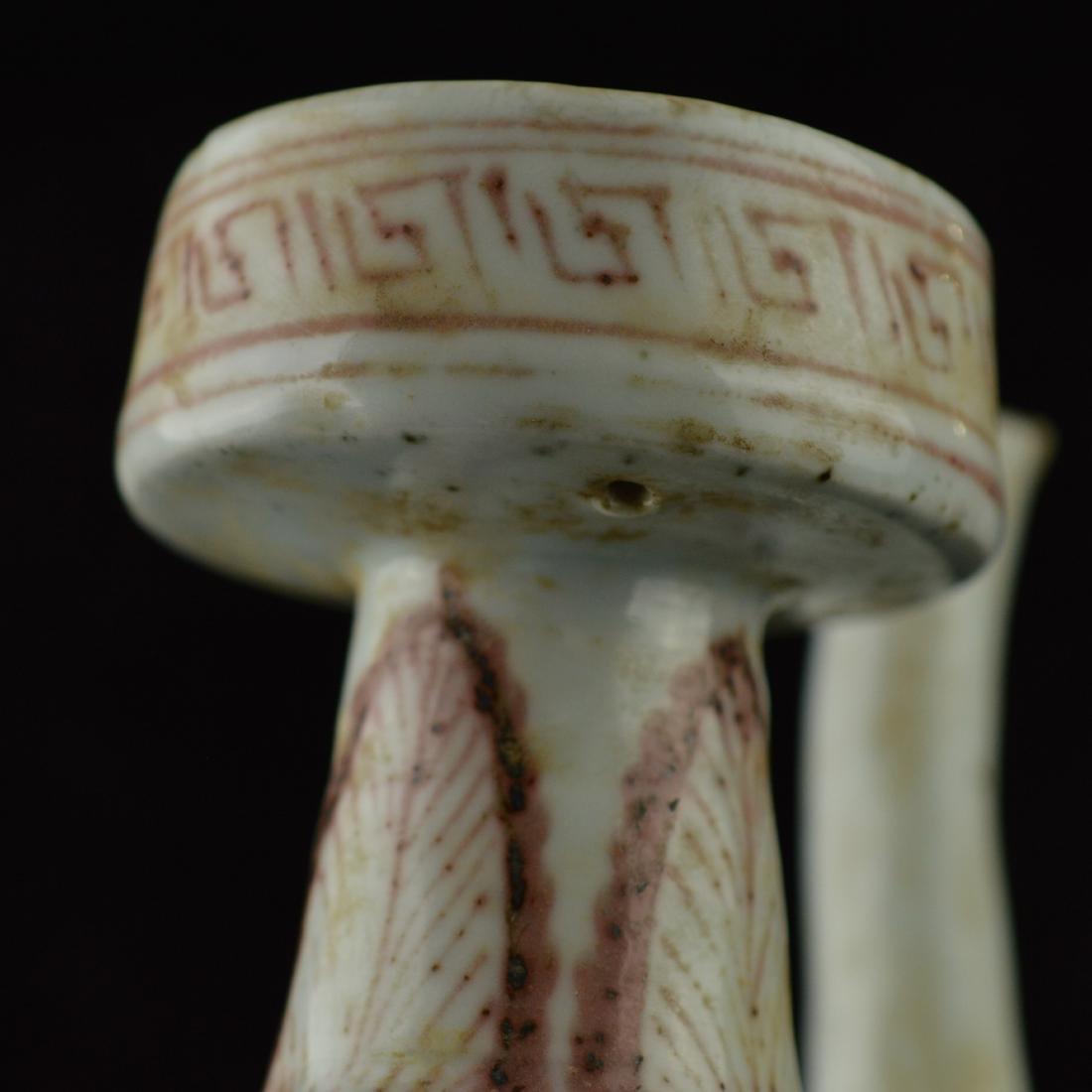 Red glazed triple dragon porcelain pot - 7