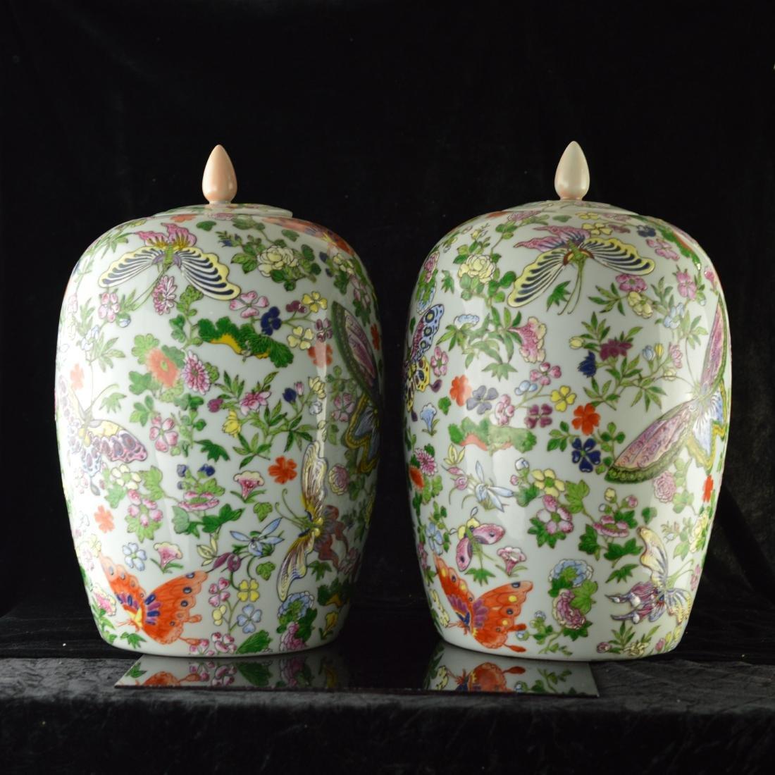 Pair of Fen cai butterfly wintermelon jar