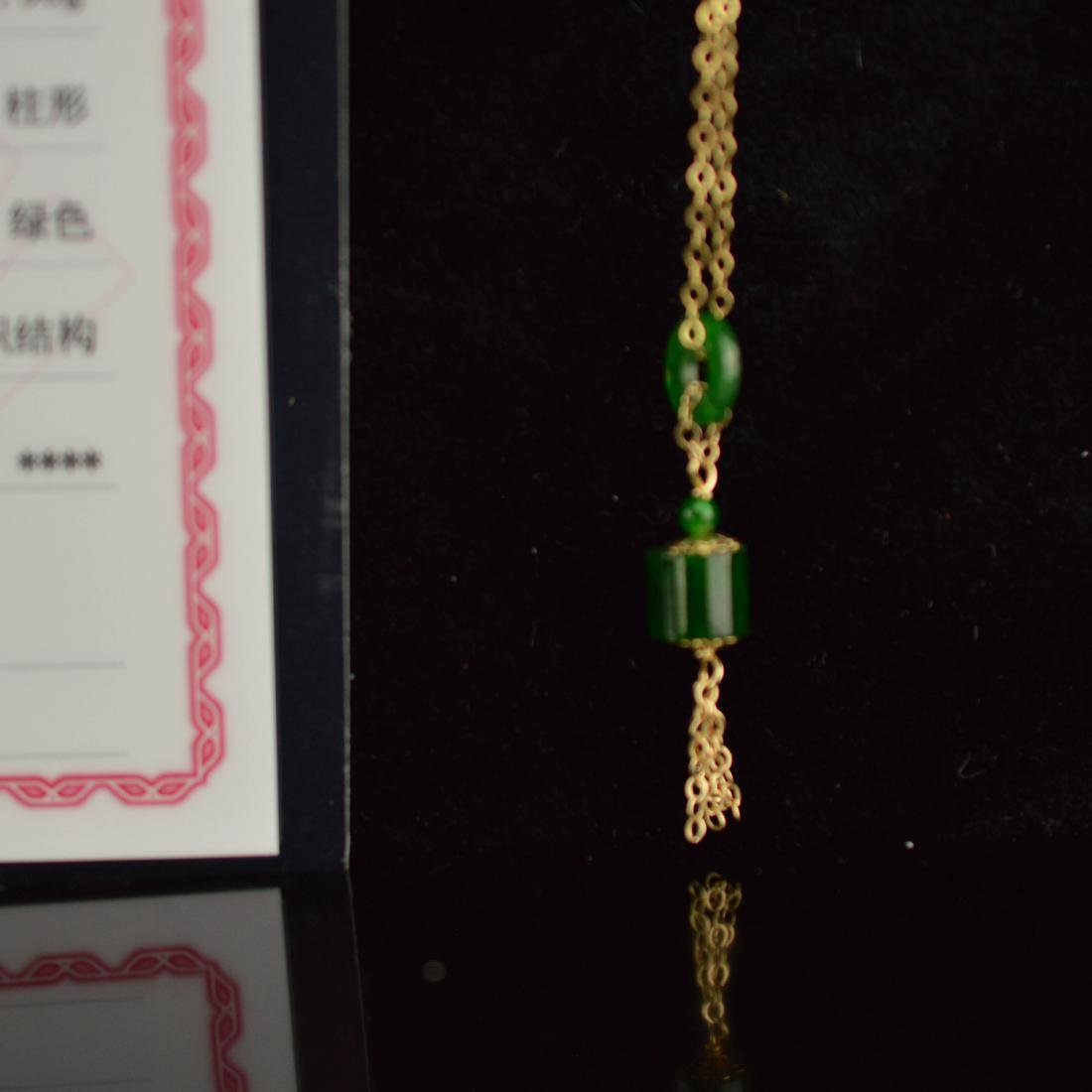 Certified 14k Gold Green jadeite necklace