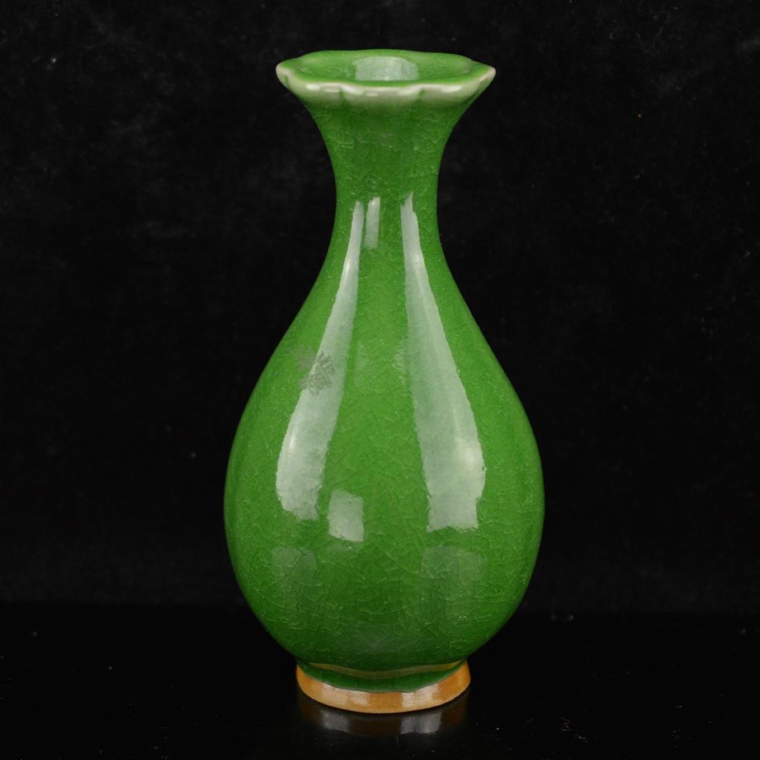 Green glazed porcelain vase