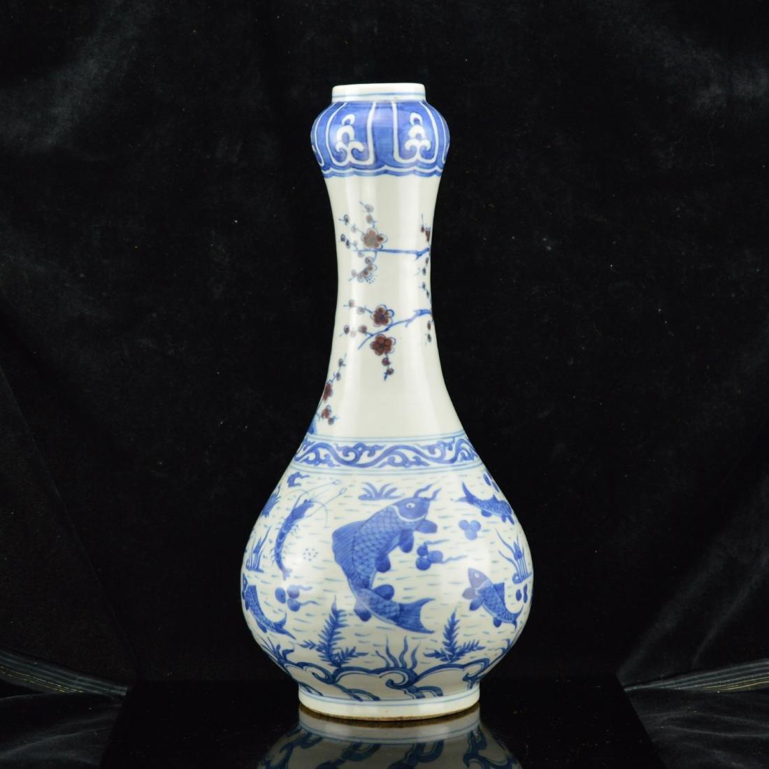 Ming style Garlic Vase with box