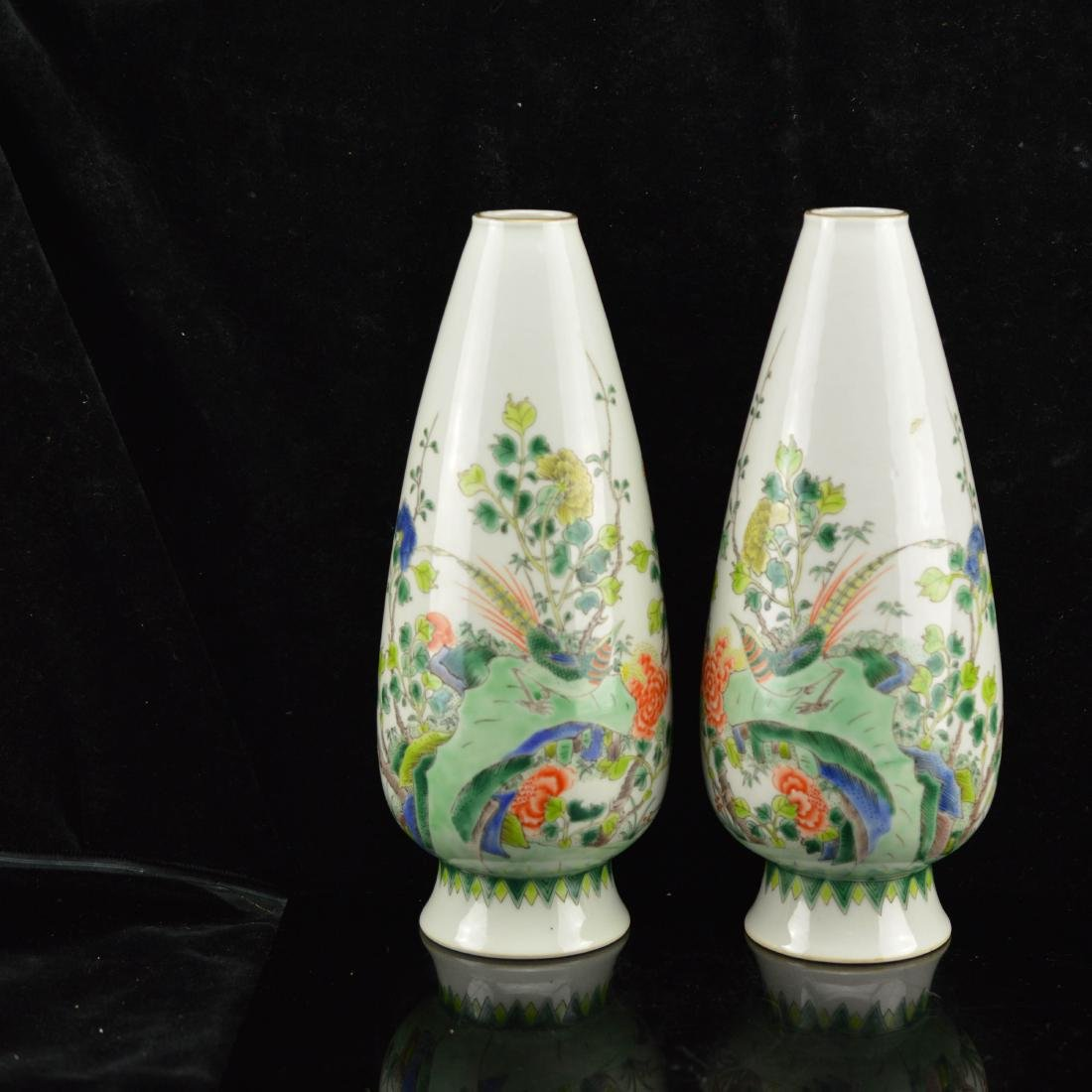 Pair of FenCai Porcelain Cone shape vase