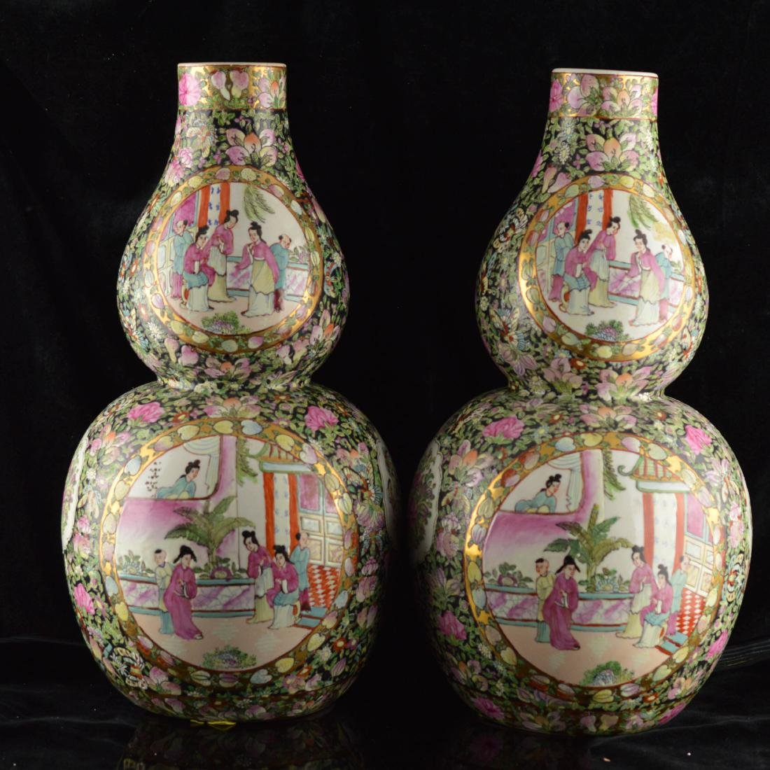 Pair of Antique Famille rose gourd vases