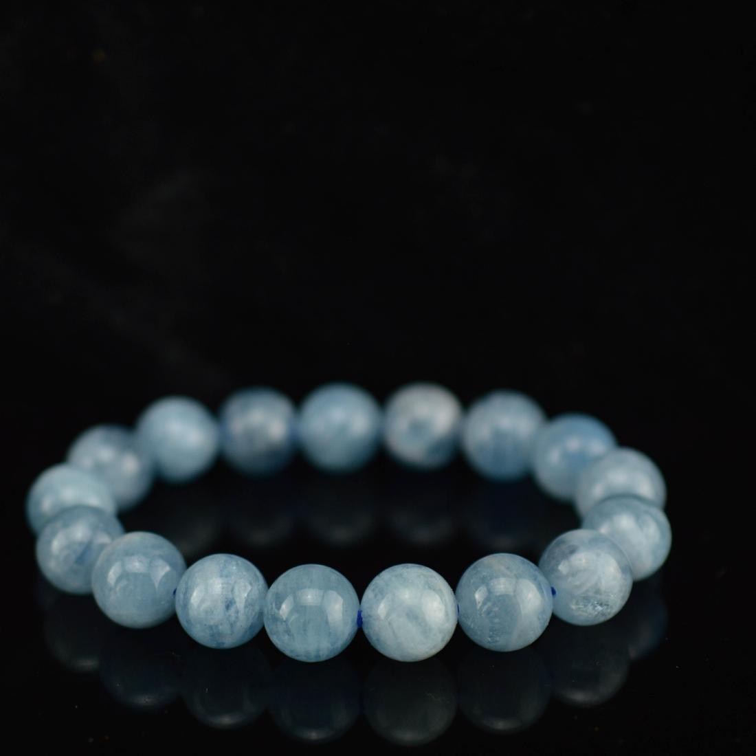 Natural icy aquamarine bracelet