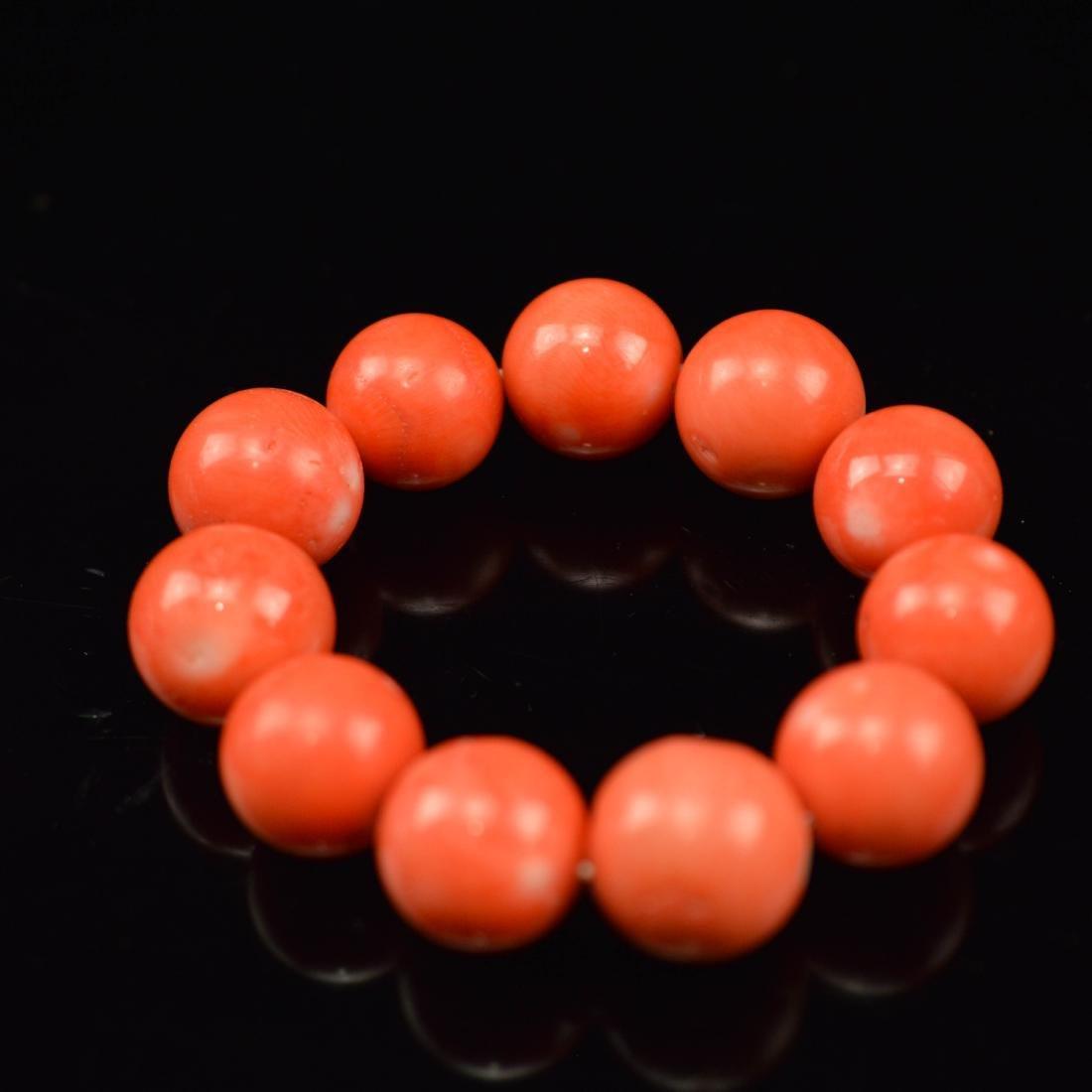 pink coral beads bracelet