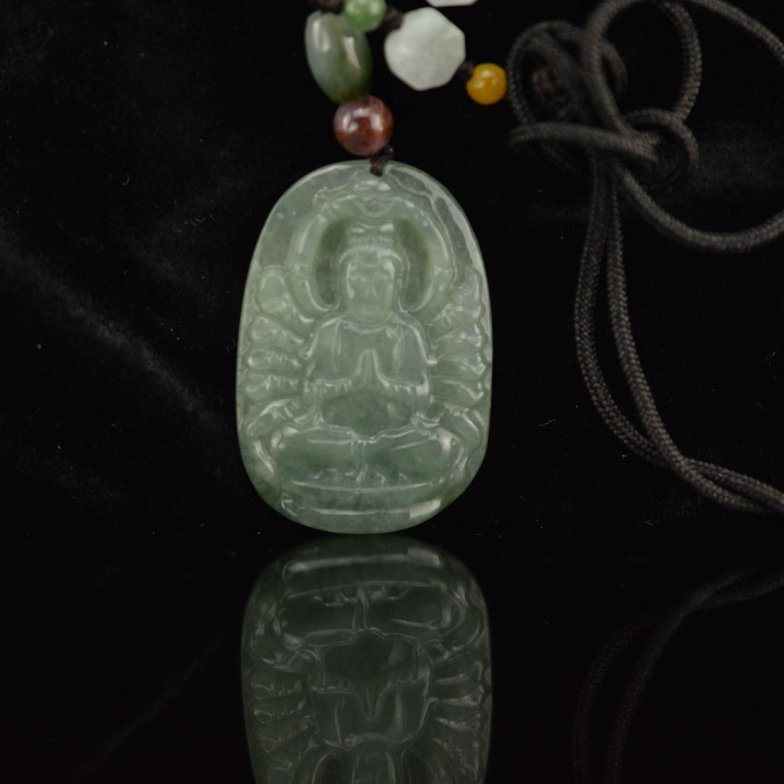 Jade carved Guan Yin pendant