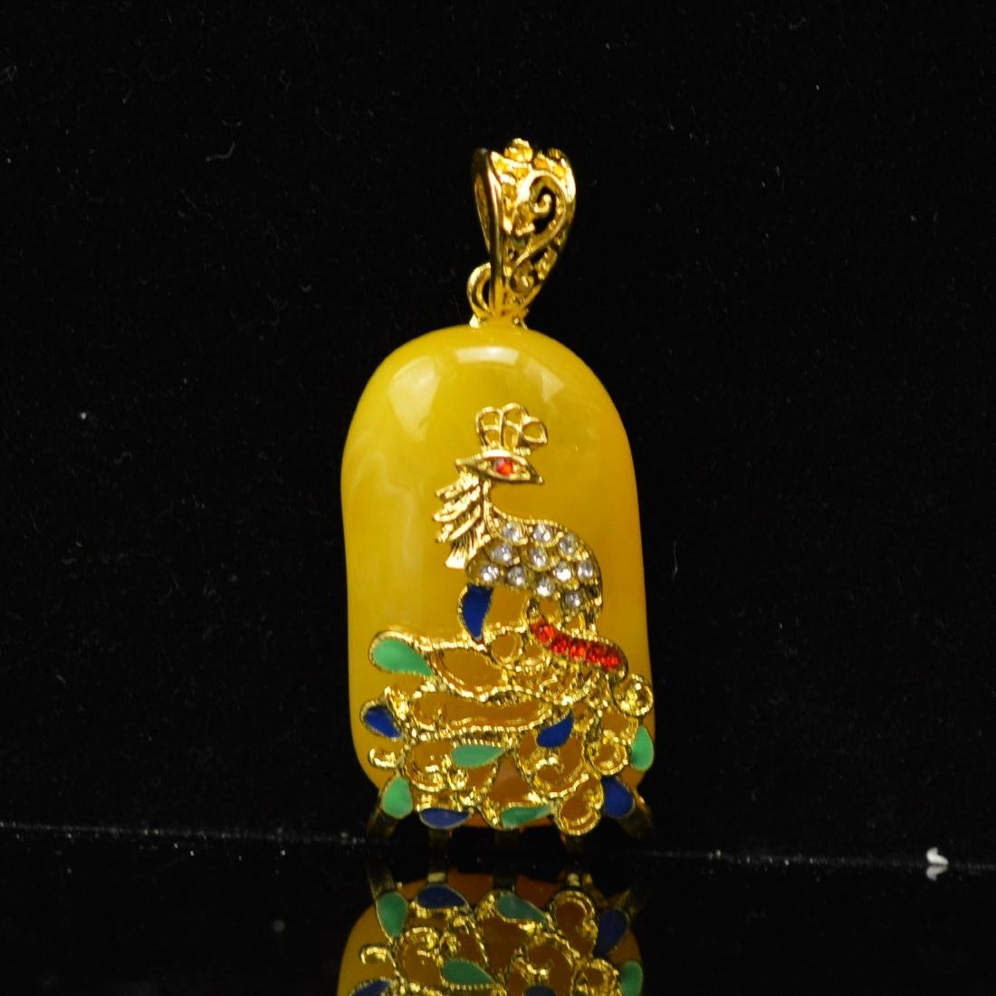 Royal Amber enamel pendant