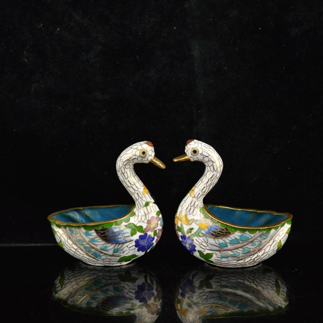 Pair of Chinese Cloisonne Enamel swan brush washes
