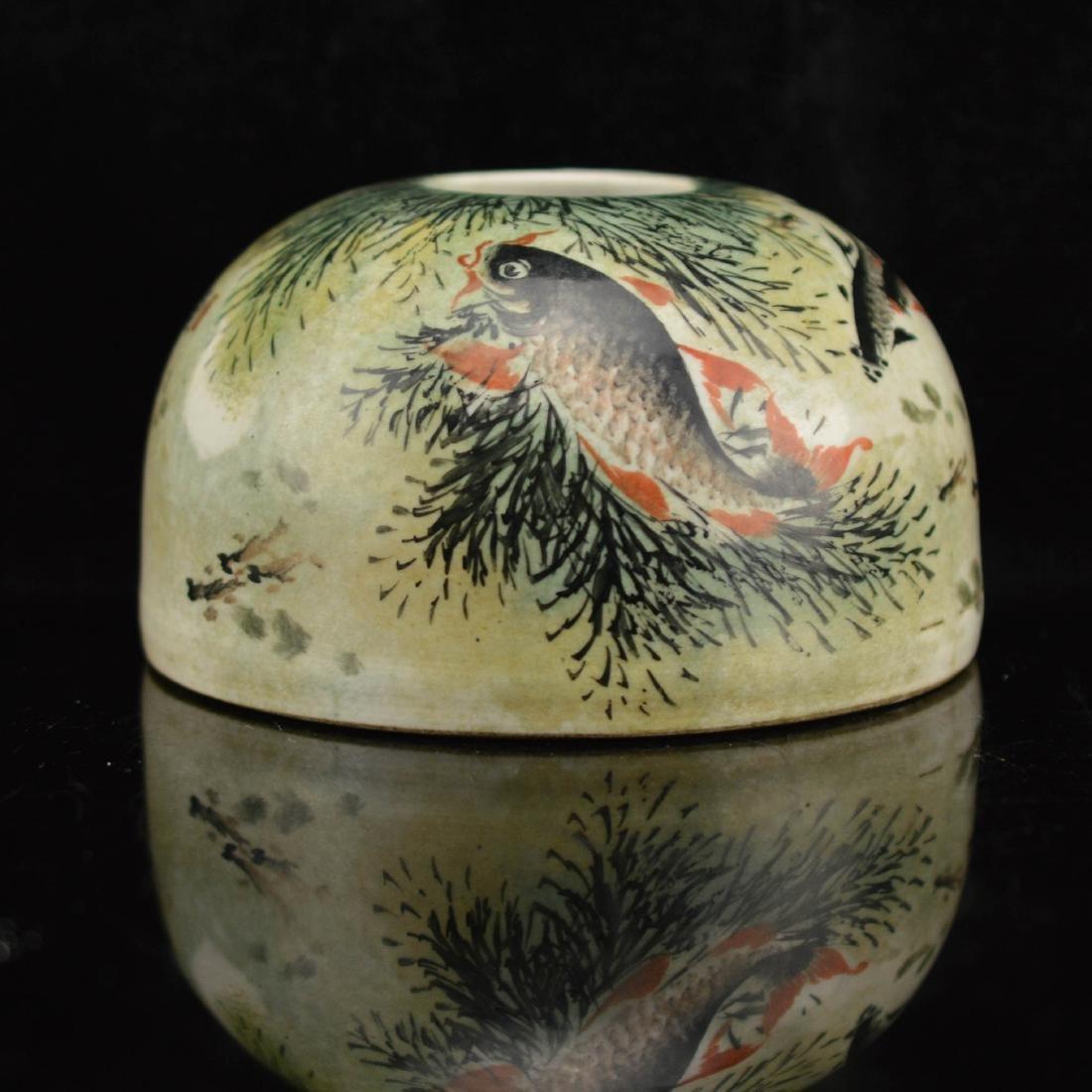 Deng Bi Shan style Fen Cai fish brush holder