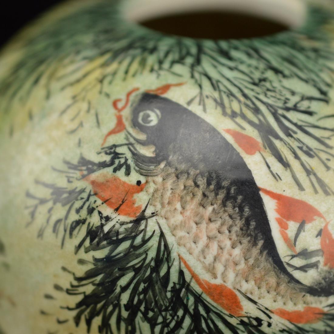 Deng Bi Shan style Fen Cai fish brush holder - 2