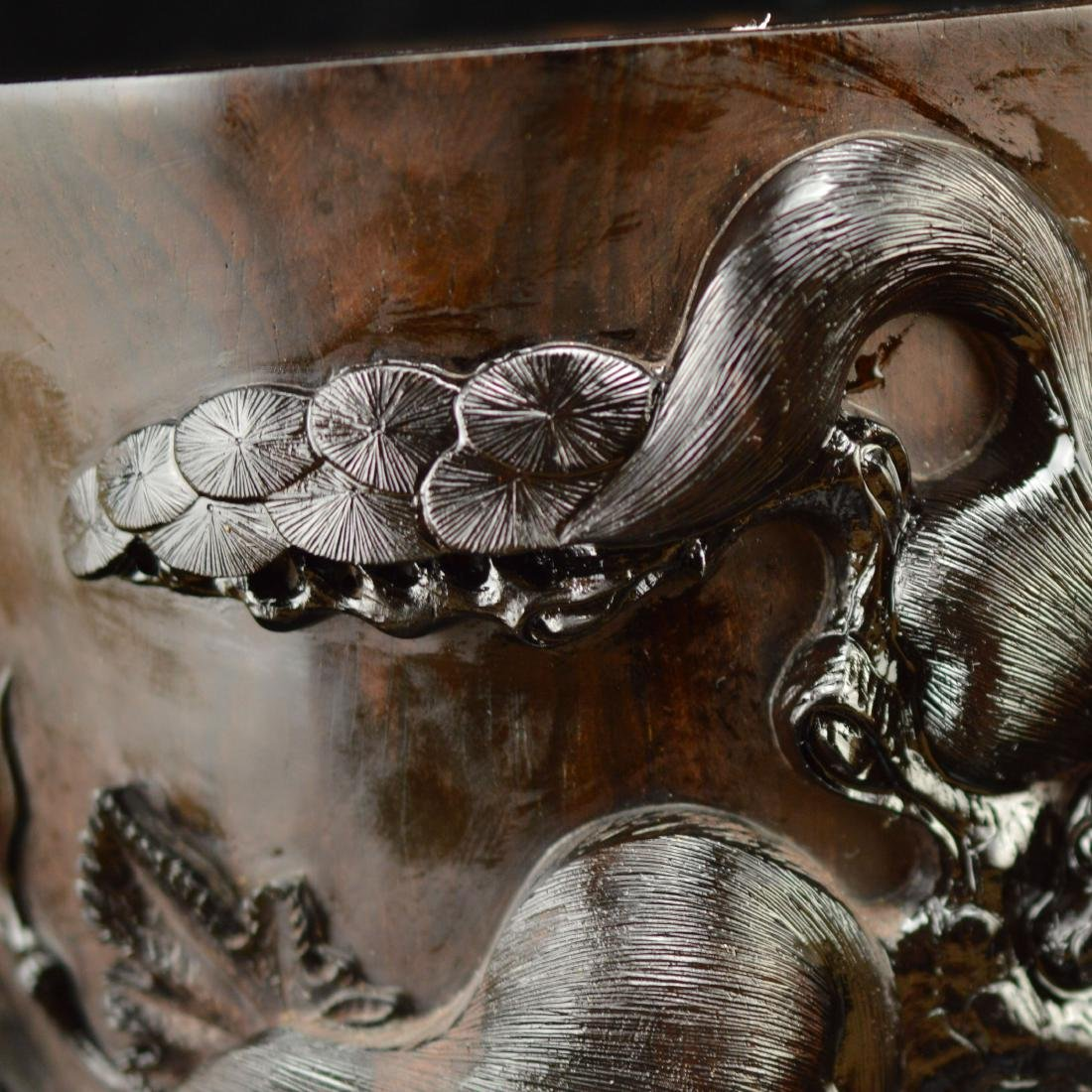 Late Qing style Zitan brush holder - 5