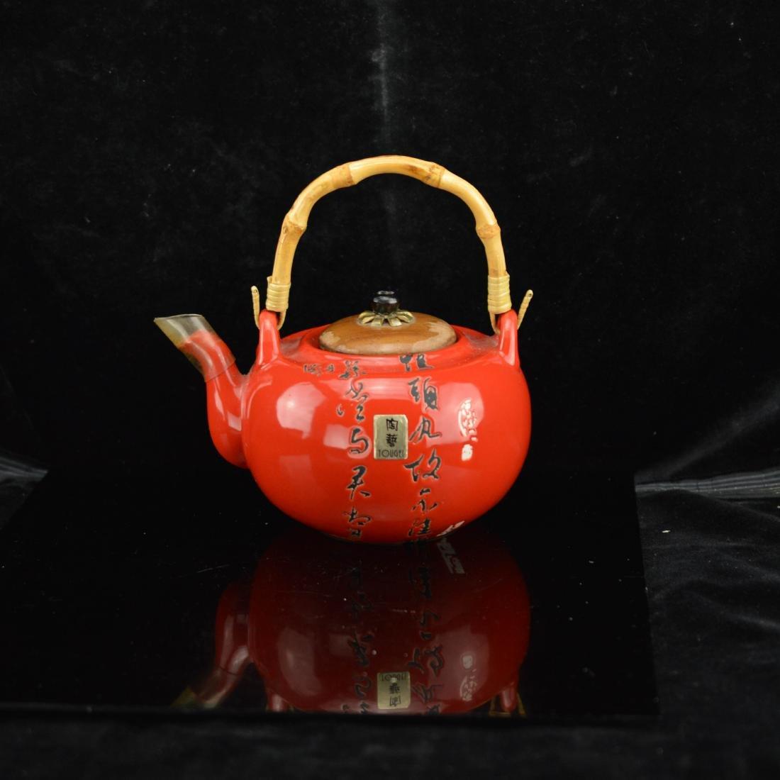 Red glazed teapot