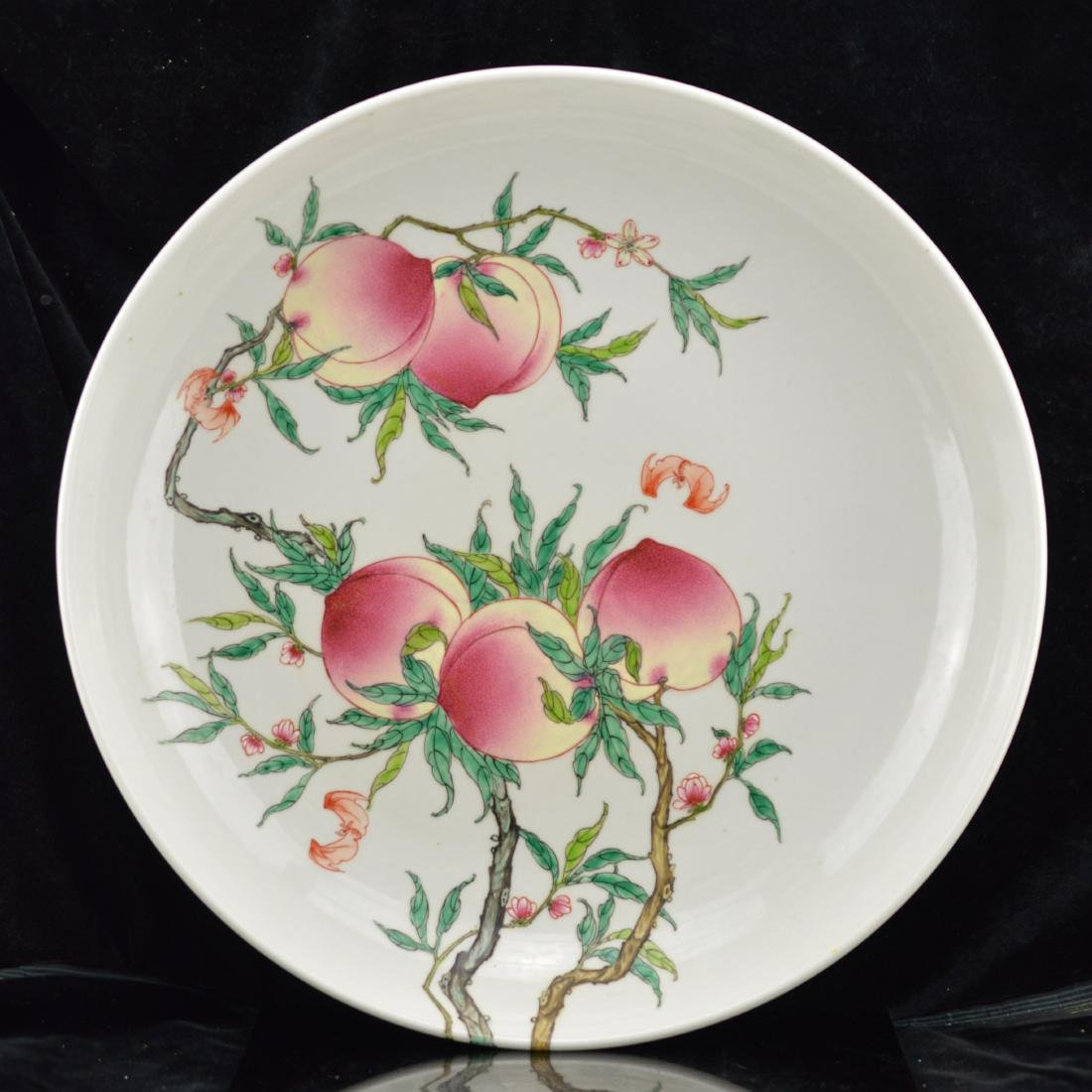 Qing Style Large Nine Peaches Porcelain Plate