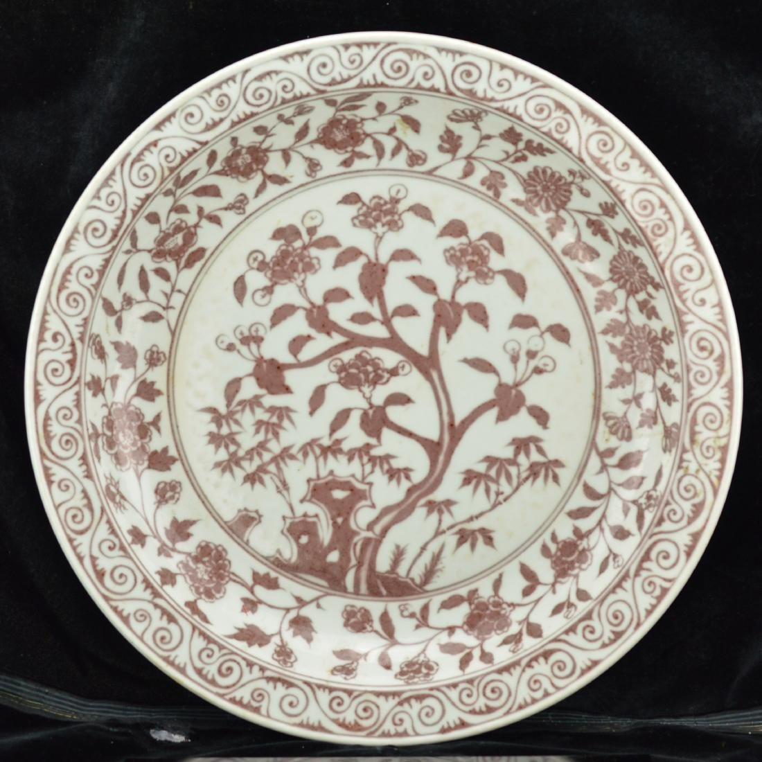 Ming Style Underglazed red porcelain plate with box