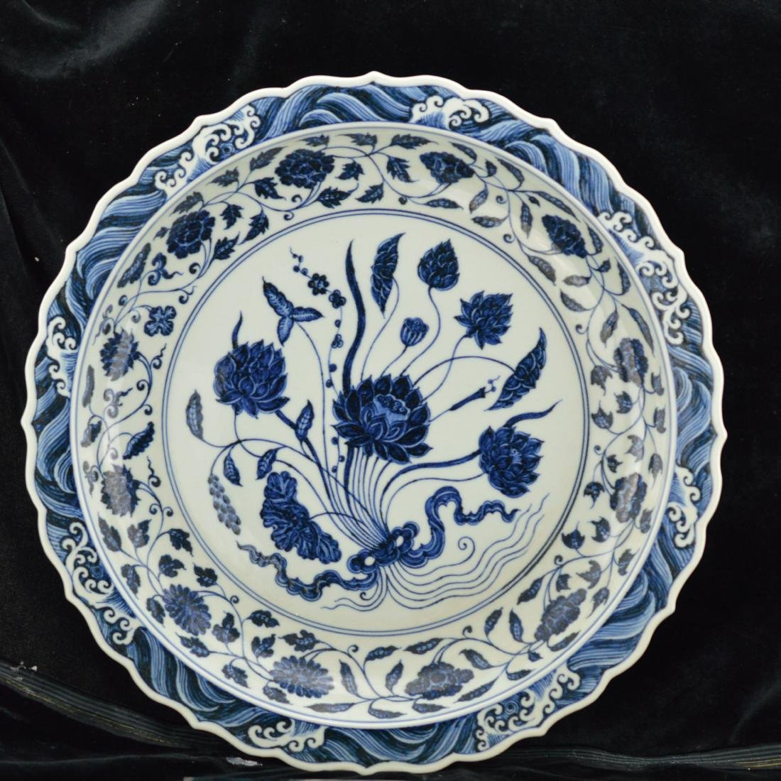 Ming Style Blue and white Porcelain plate with box