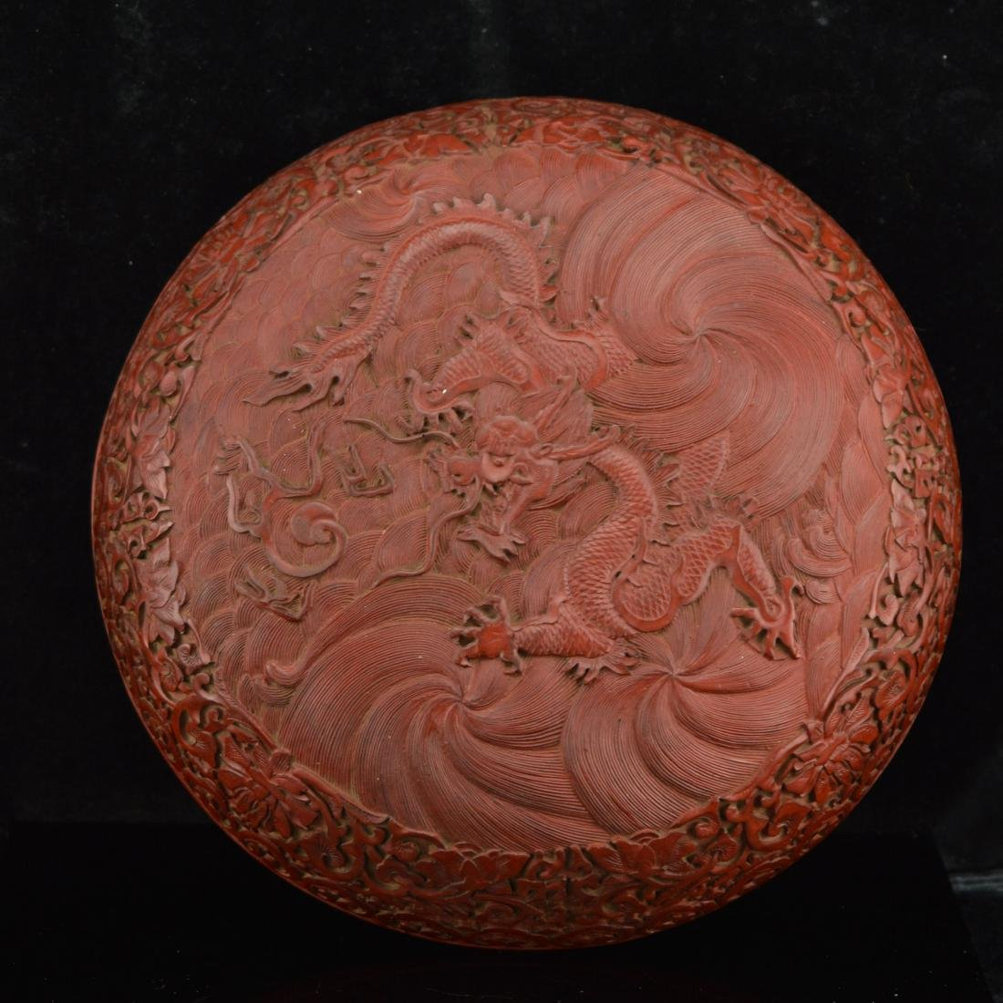 Qing style Dragon carved Lacquerware container