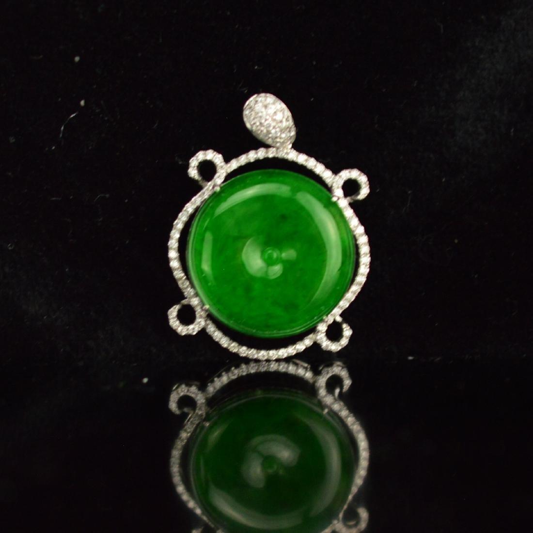 Natur Burma jadeite pendant with 18k white gold with