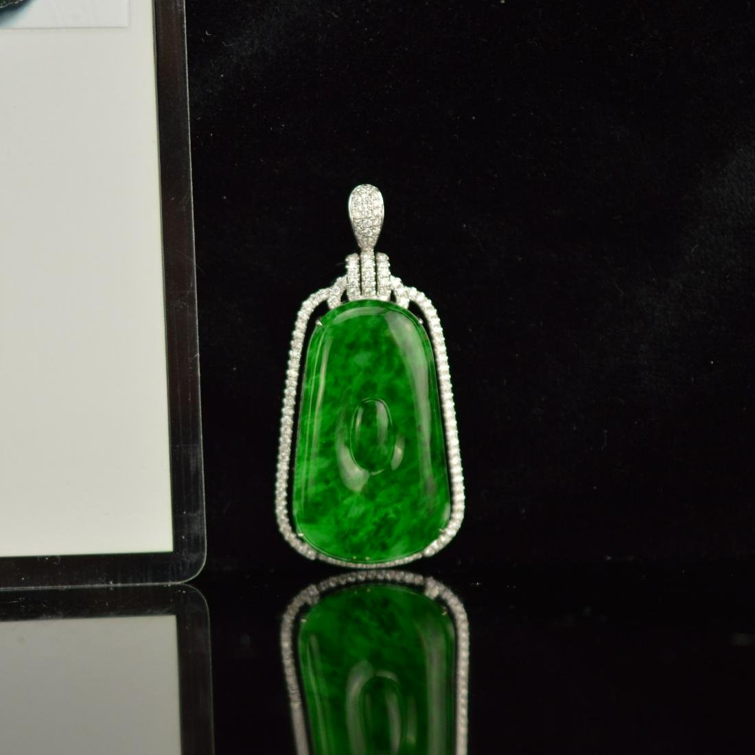 Natural Burma jadeite pendant with 18k white gold with