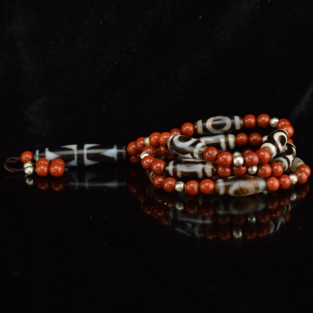 Tigertooth southern red agate DZI necklace