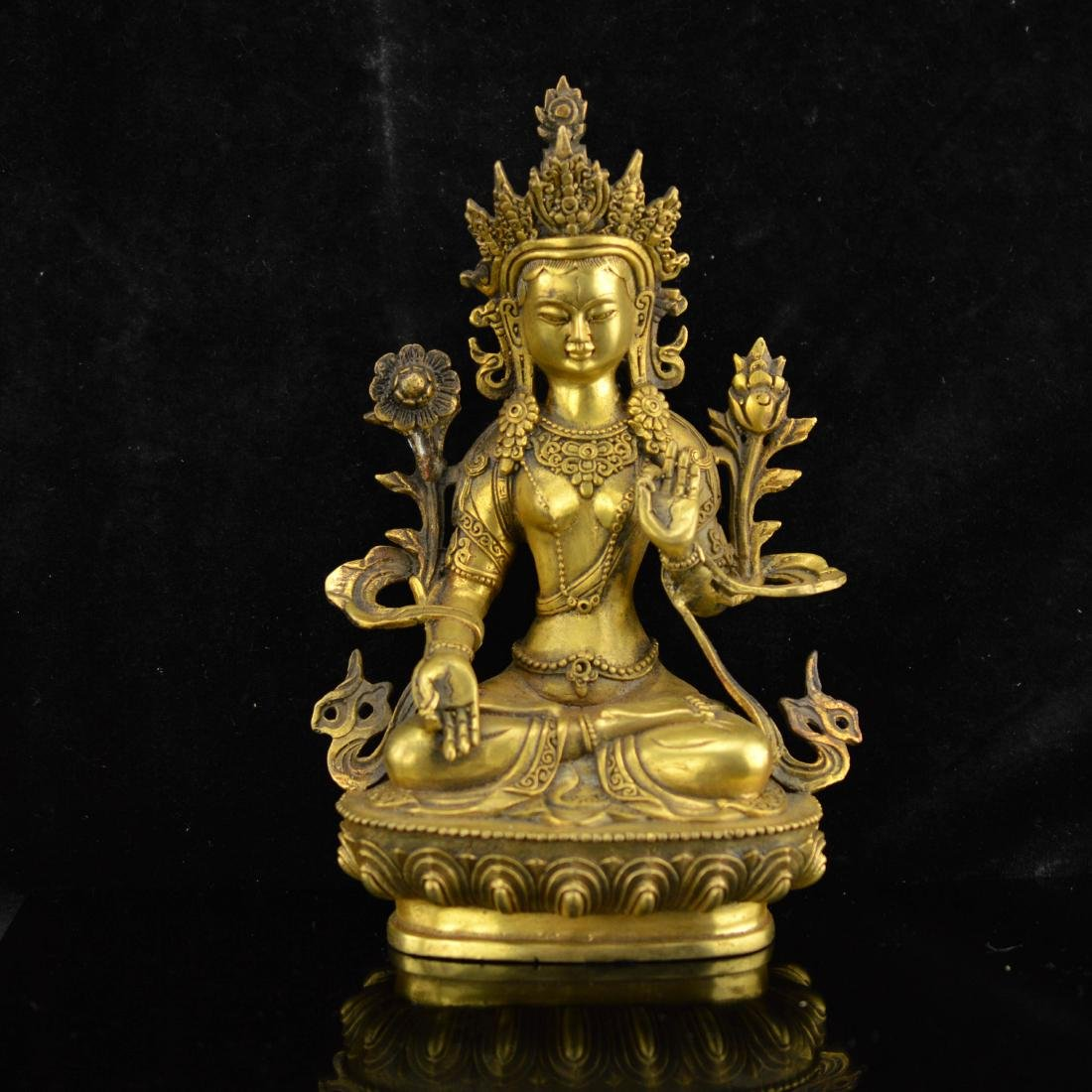 Gold Gilted White Tara Statue