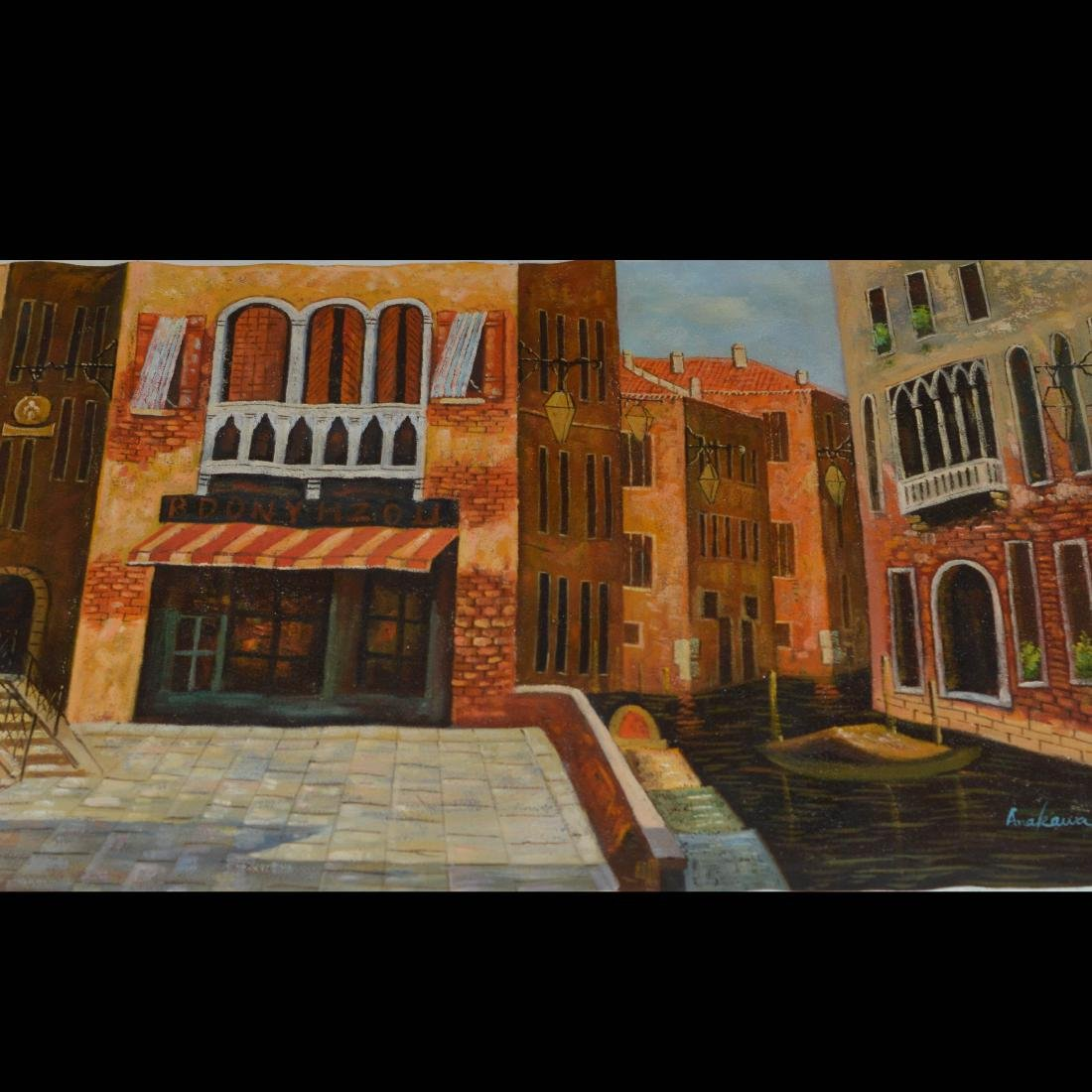 Venice water village oil painting