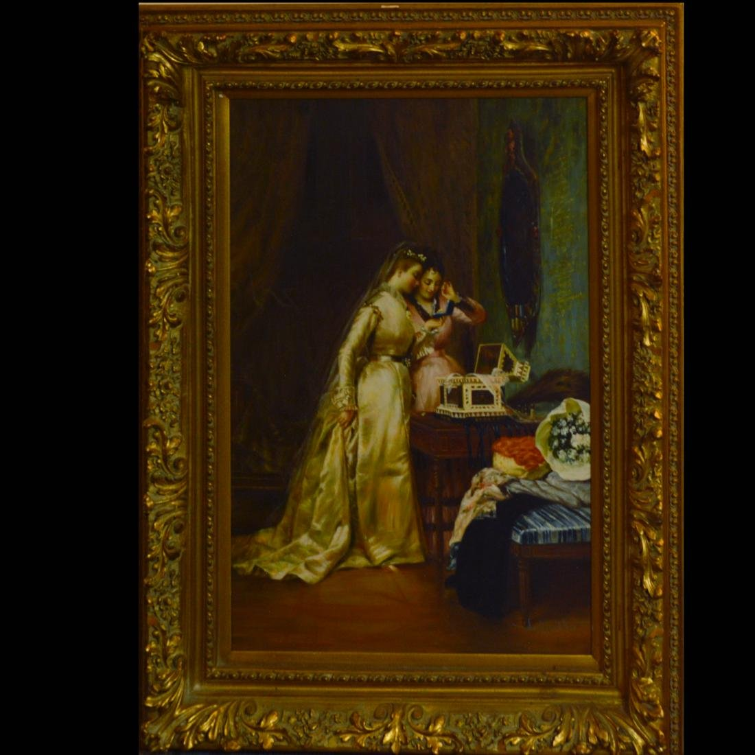 Ornately framed oil painting