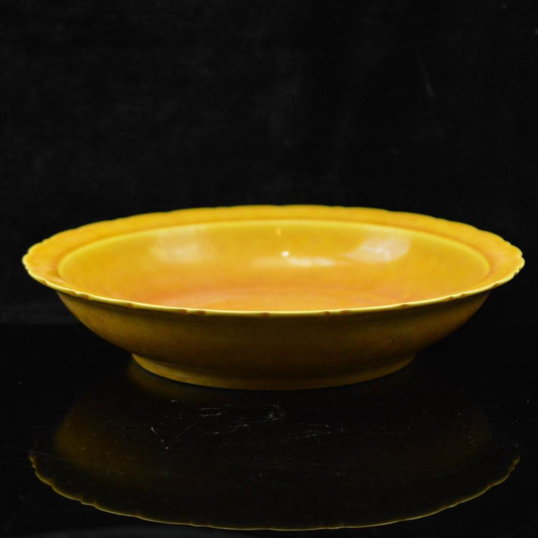 yellow underglazed porcelain plate