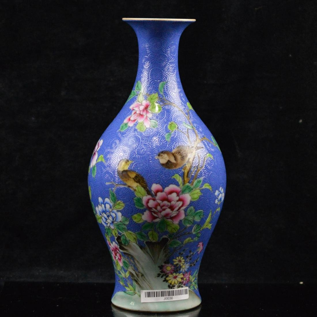 Fen Cai flower birds patterened porcelain vase